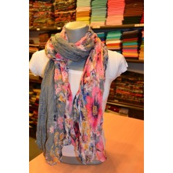 Flower Designed Thin Shawl